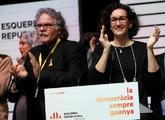 Marta Rovira junto a Joan Tardá ayer en su discurso