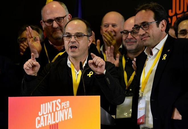 Jordi Turull celebrando los resultados de los comicios.