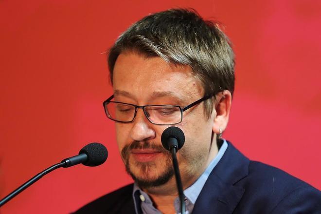 El candidato de Catalunya en Comú, Xavier Domènech, durante su discurso