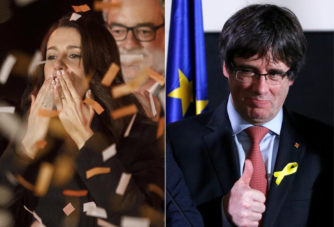 Inés Arrimadas, exultante e Barcelona. Carles Puigdemont, confiado en Bruselas.