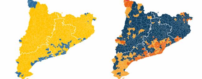 Mapa municipal de resultados del 21-D en Cataluña