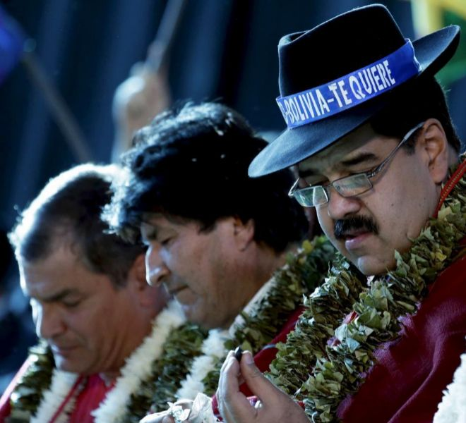 El presidente venezolano, Maduro, junto a su homólogo boliviano, Morales, y el ecuatoriano Correa.