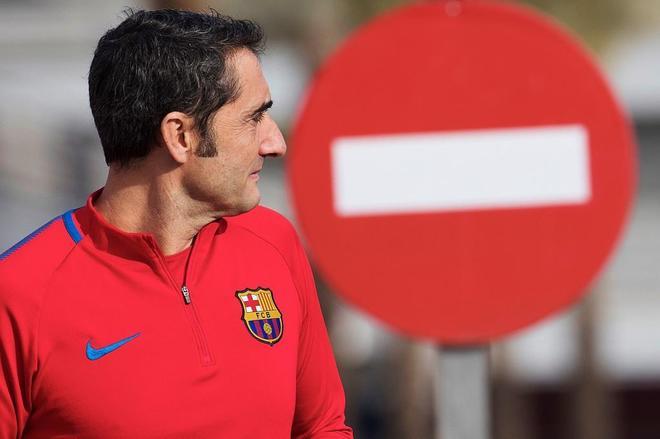 El entrenador del FC Barcelona, Ernesto Valverde,durante la víspera del clásico.