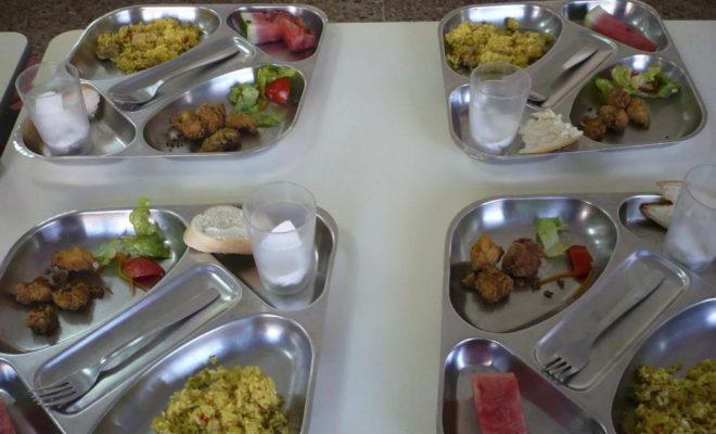 Bandejas de un comedor escolare con alimentos ecológicos.