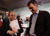 Miquel Iceta y Pedro Sánchez la pasada semana, tras la reunión de la...