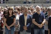 El alcalde de Sabiñánigo, Jesús Lasierra (en el centro), durante...