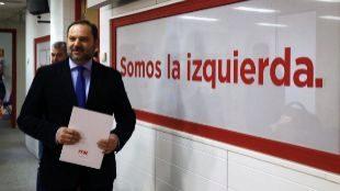 José Luis Ábalos, esta mañana en la sede de los socialistas en la...