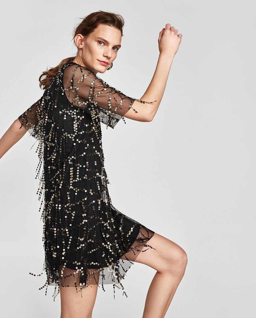 Vestido Zara Con De Lentejuelas Flecos gqUxTwg