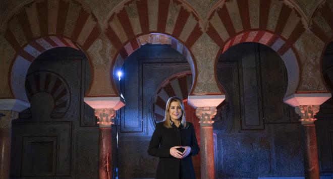 Susana Díaz, durante la grabación de su discurso de fin de año en Medina Azahara.
