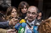 El presidente de Aragón, Javier Lambán, en un encuentro con la...
