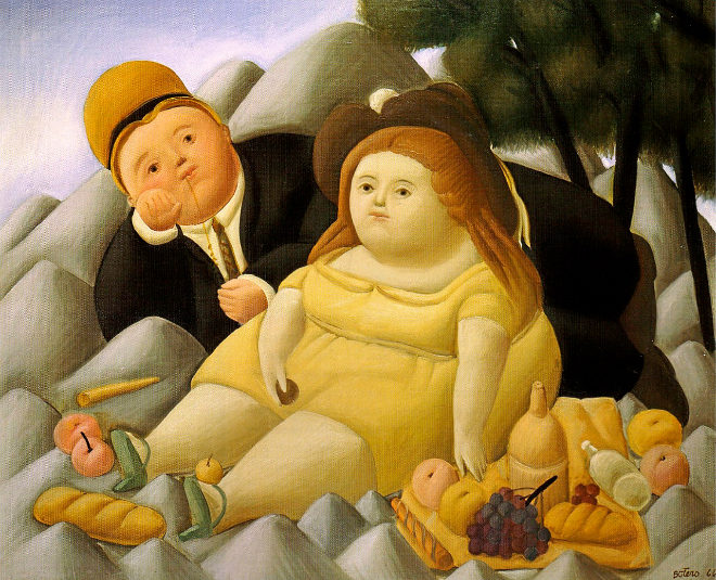 'Picnic en las Montañas', pintado por Fernando Botero en 1966.