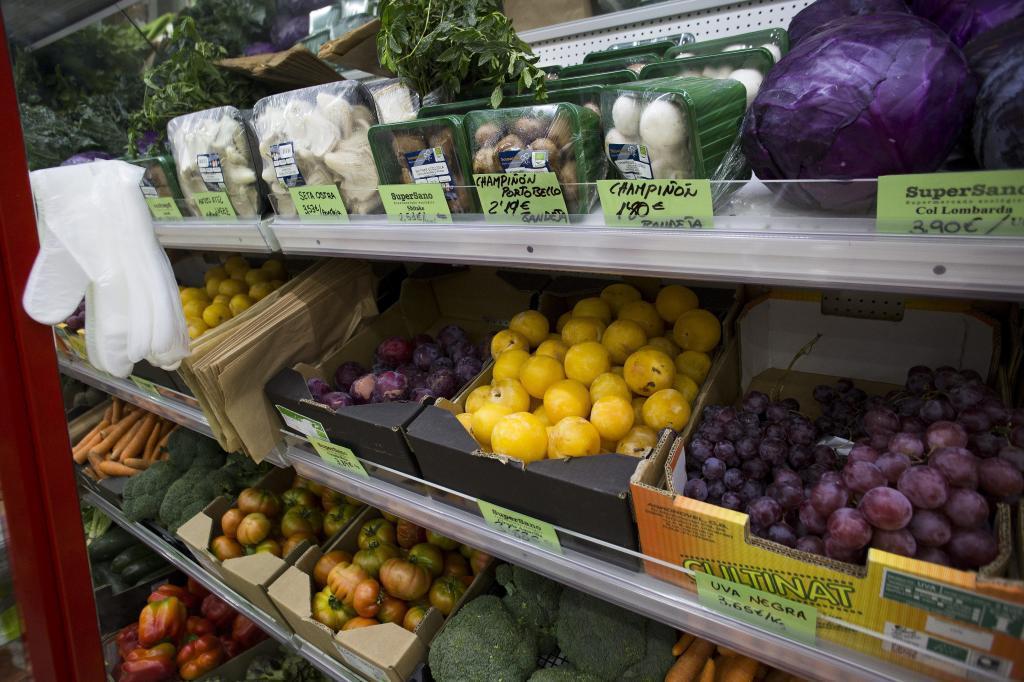Baldas de un supermercado ecológico en Madrid