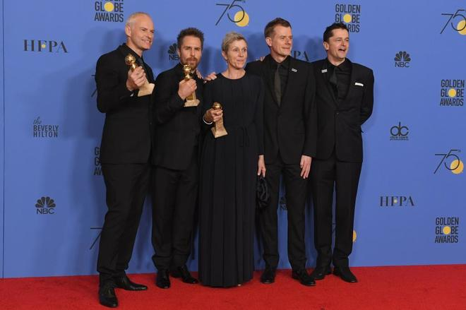 Martin McDonagh, Sam Rockwell, Frances McDormand, Graham Broadbent y Peter Czernin.