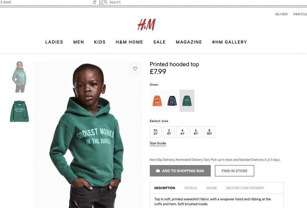 36fd6825ab H&M retira una foto acusada de racista porque un niño negro lleva una  sudadera que dice