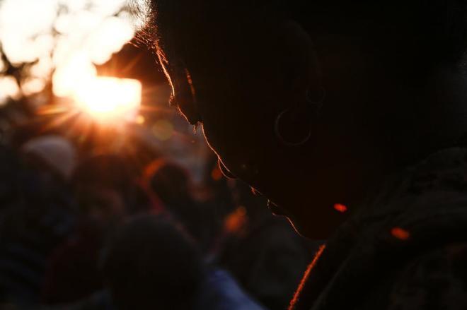 Una nepalí, en el festival Madhav Narayan que se celebra estos días...