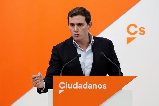 El presidente de Ciudadanos, Albert Rivera, en rueda de prensa el...