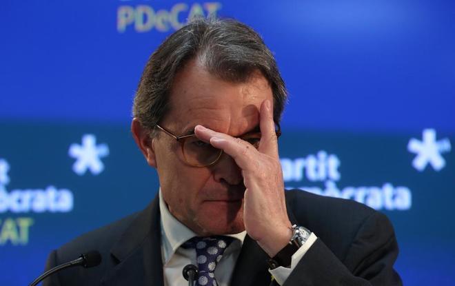 Artur Mas, en la rudea de prensa en la que se desvinculó de la Dirección del PDeCat.