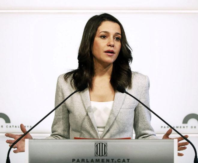 La líder de Ciudadanos, Inés Arrimadas, durante una rueda de prensa...