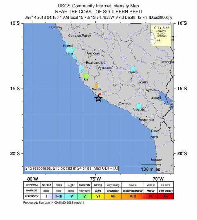 Al menos dos muertos y 65 heridos tras un seísmo de magnitud 6,8 en Perú
