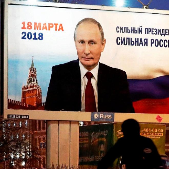 Publicidad de la candidatura de Putin para las elecciones de marzo.