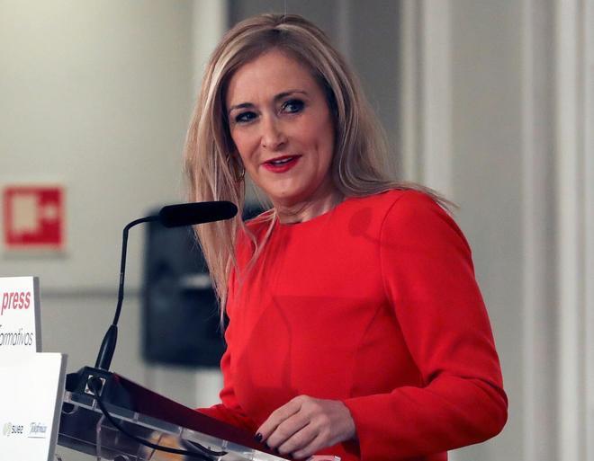 Cristina Cifuentes, durante el desayuno de Europa Press.