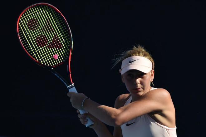 La ucraniana Marta Kostyuk, en su partido de primera ronda ante Peng.