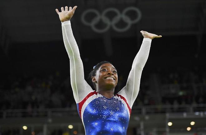 Simone Biles, tras uno de sus ejercicios en los Juegos Olímpicos de Río.