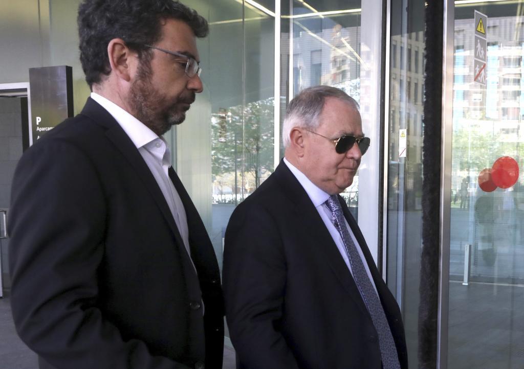 Francesc Sánchez  y Andreu Viloca en la ciudad de la justicia de Barcelona por el Caso Palau