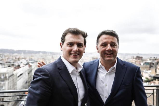 El presidente de Ciudadanos, Albert Rivera, y el ex presidente de Italia, Matteo Renzi