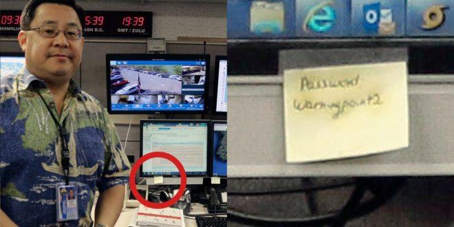 El responsable de la falsa alerta de misiles en Hawai se fotografió con la contraseña