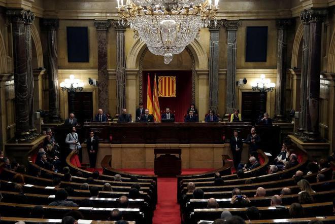 La Mesa del Parlament durante la sesión constitutiva, ayer.