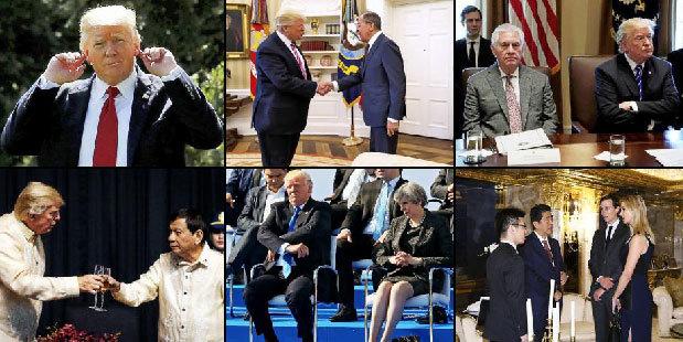 Varias imágenes de Trump con líderes internacionales.