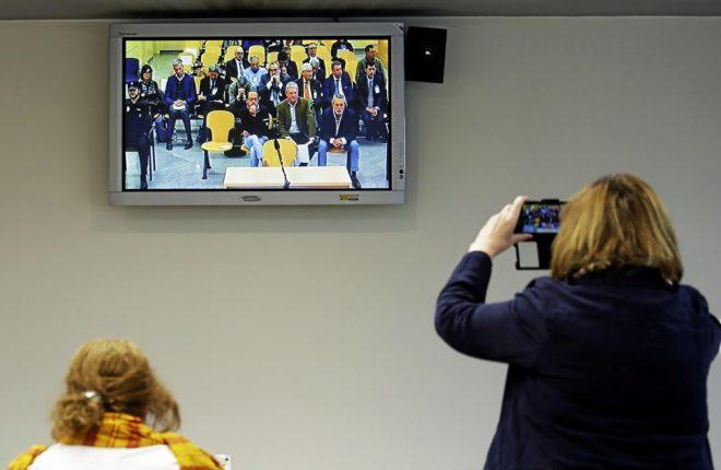 Sala de prensa de la Audiencia Nacional, en un momento del juicio por...
