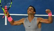 Nadal celebrando su pase a cuarta ronda del Open de Australia.