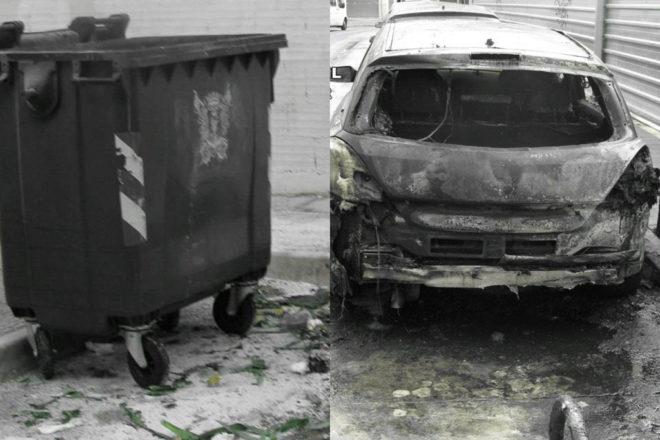 Aparte de los contenedores, los incendios acabaron afectando a un vehículo
