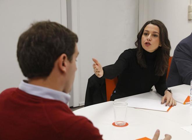 Inés Arrimadas y Albert Rivera, durante la reunión de la Ejecutiva...