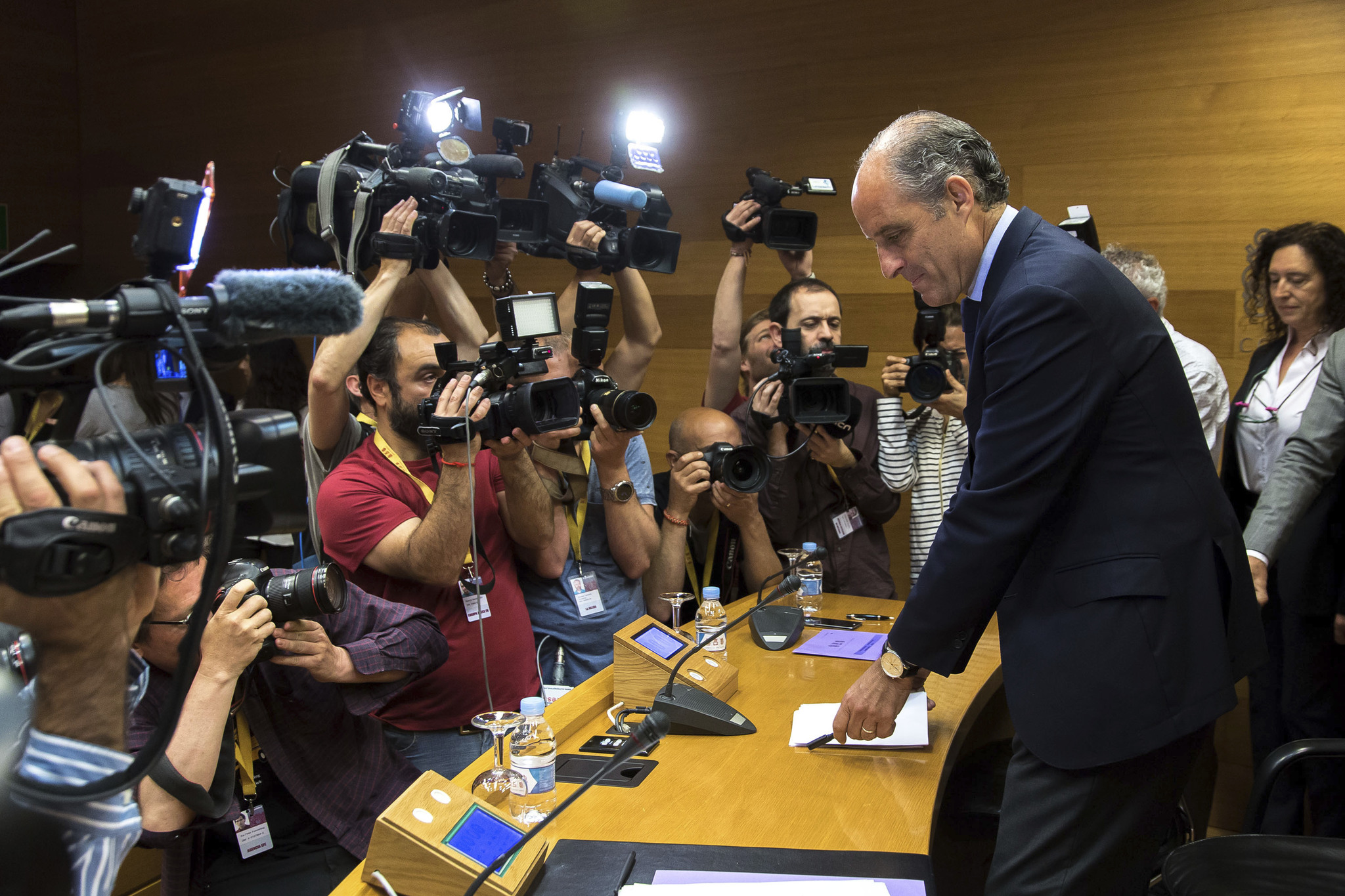 El ex presidente de la Generalitat Valenciana Francisco Camps en una comisión de investigación de las Cortes Valencianas.