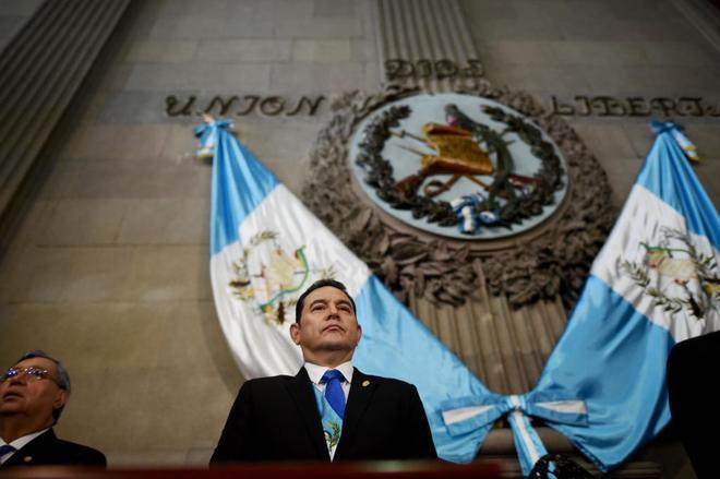 El presidente de Guatemala, Jimmy Morales, en la presentación de su Segundo Informe de Gobierno, el pasado 14 de enero en el Congreso de Guatemala