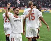 Sarabia, N'Zonzi, Mercado y Correa en el momento del 3-1 en el...