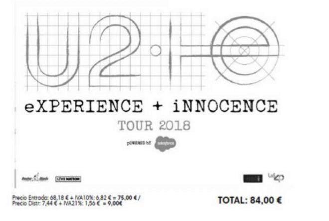 Entrada del concierto de U2 en Madrid