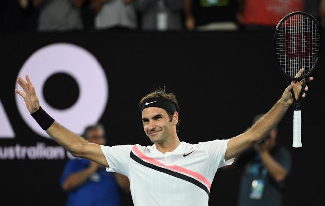 Roger Federer celebra su victoria frente a Berdych en los cuartos del...