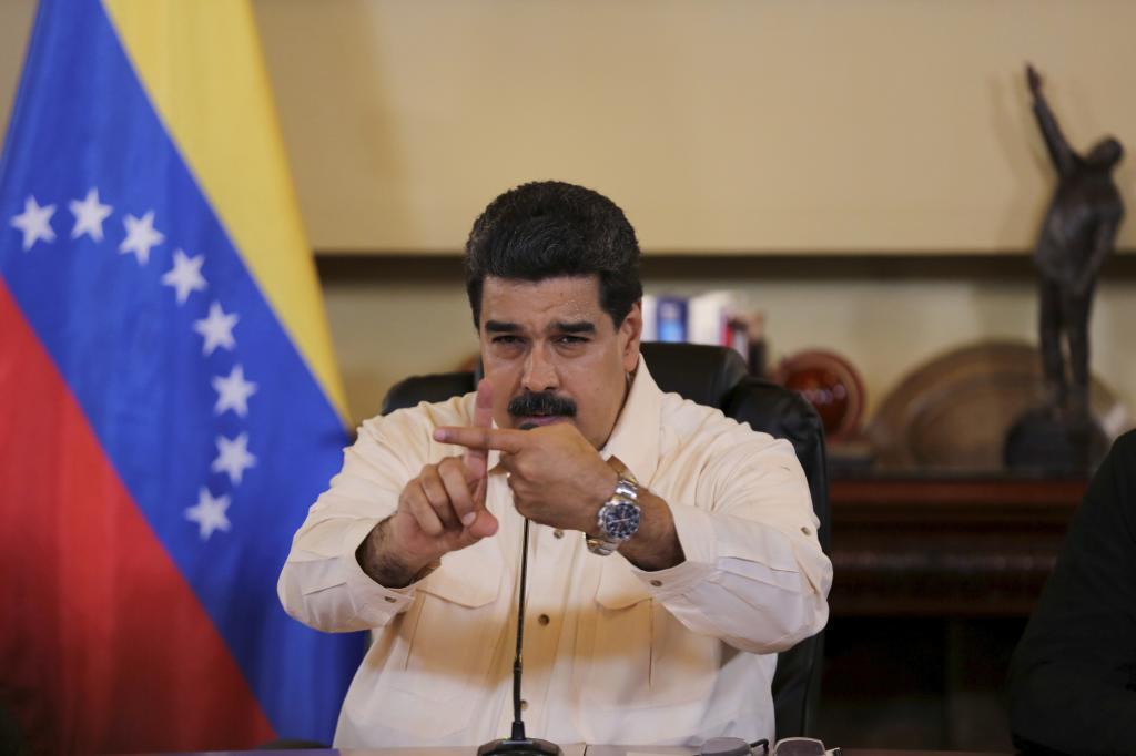 El presidente venezolano, Nicolás Maduro, gesticula durante un mitin chavista en Caracas.