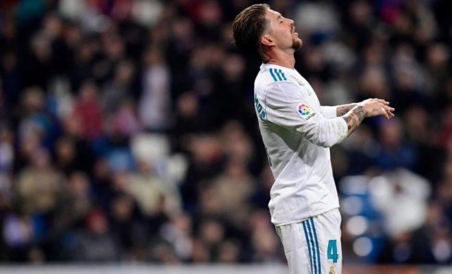 Ramos, desesperado, durante el partido ante el Leganés en el Bernabéu.