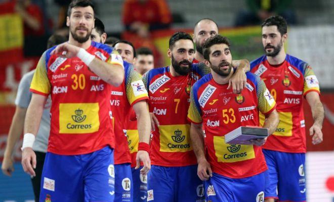 Los jugadores españoles, tras el triunfo ante Alemania en Varazdin.