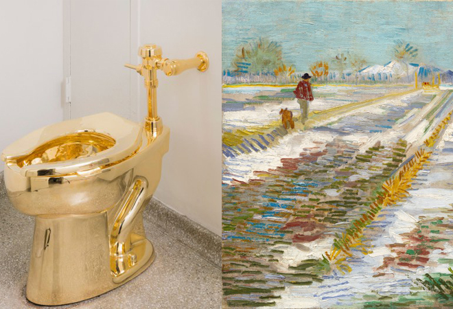 A la izquierda, el váter de oro de Cattelan; a la derecha, la obra de...