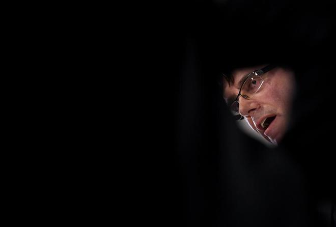 Carles Puigdemont, durante un acto en la Universidad de Copenhaguen el...