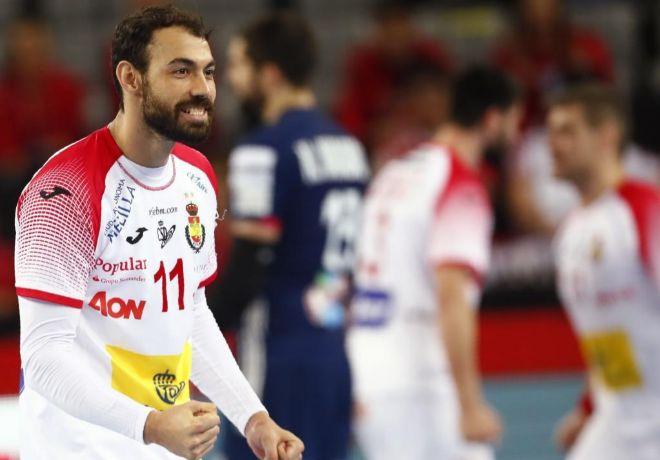 Dani Sarmiento festeja el triunfo ante Francia en Zagreb.