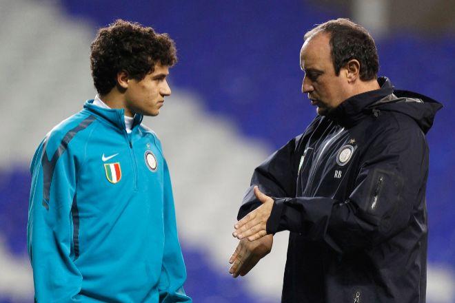Coutinho y Benítez, durante un entrenamiento del Inter de Milán.