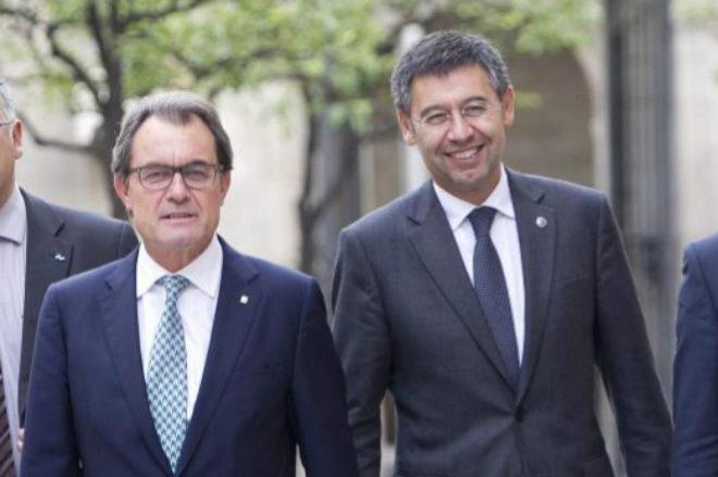 Artur Mas y Josep Maria Bartomeu, en un acto celebrado en la Generalitat en 2014.