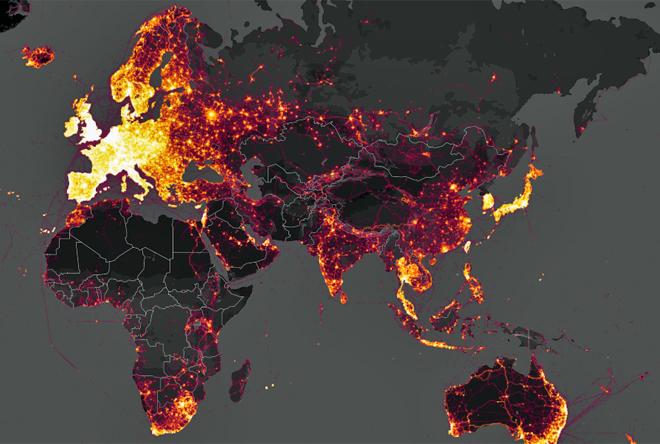 Mapa publicado por la aplicación Strava que muestra las ubicaciones...
